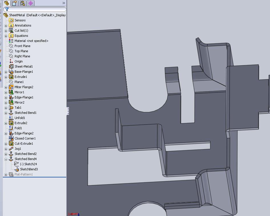 Sketched Bend Amp Sketch Rebuild Times Cswp Sheet Metal