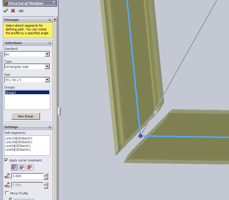 Solidworks Corner Gap for Welding