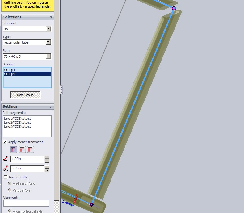 Solidworks Corner Gap grouping on weldments