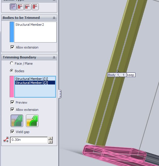 Solidworks Trim extend with Weld Gap