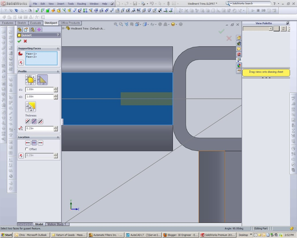 Solidworks Gusset Centered on member