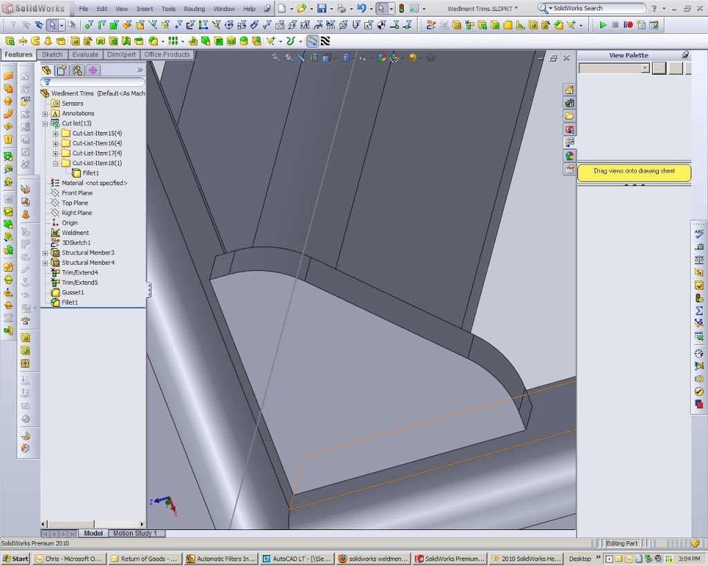 Solidworks Gusset with manual changes