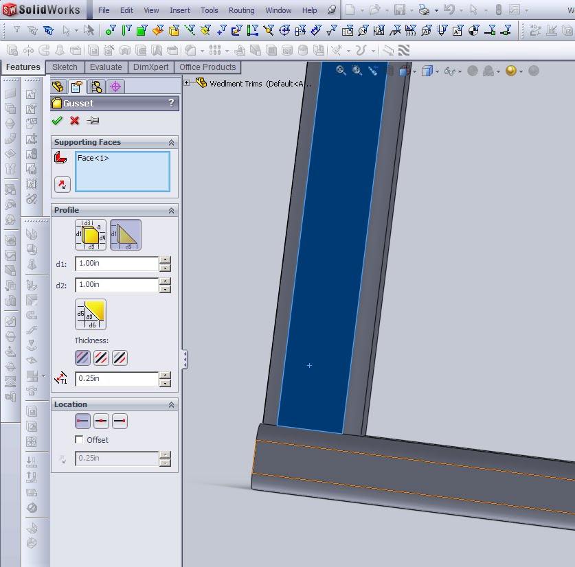 Solidworks Gusset on side of member