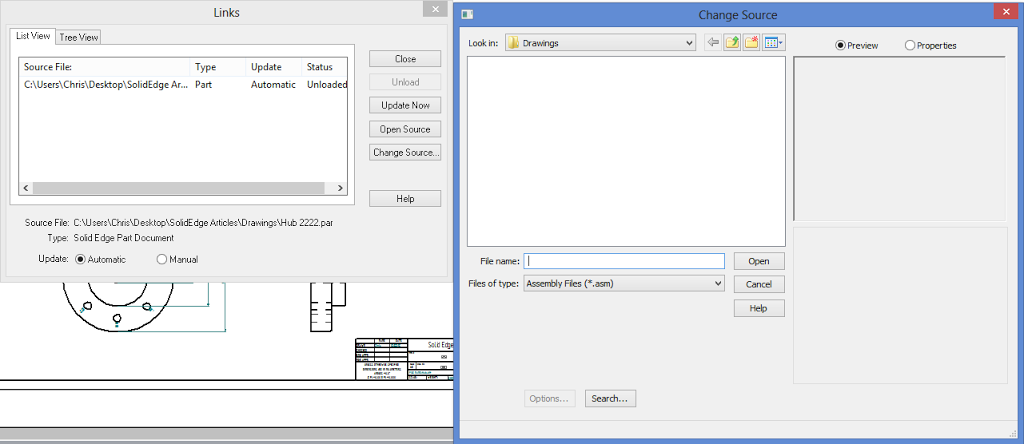 Fixing Broken Solidedge Drawing Links: Update To Working