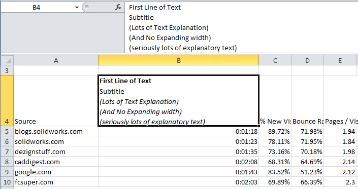 Drawing Lines Between Cells In Excel : Excel text next line in cell alt enter for new