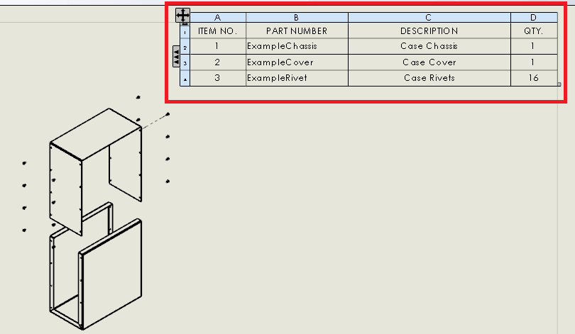 Solidworks tutorial drawings with exploded assembly view for Design table not working solidworks